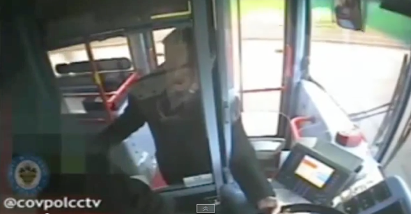 Angry passenger grabs steering wheel while bus moving (video)