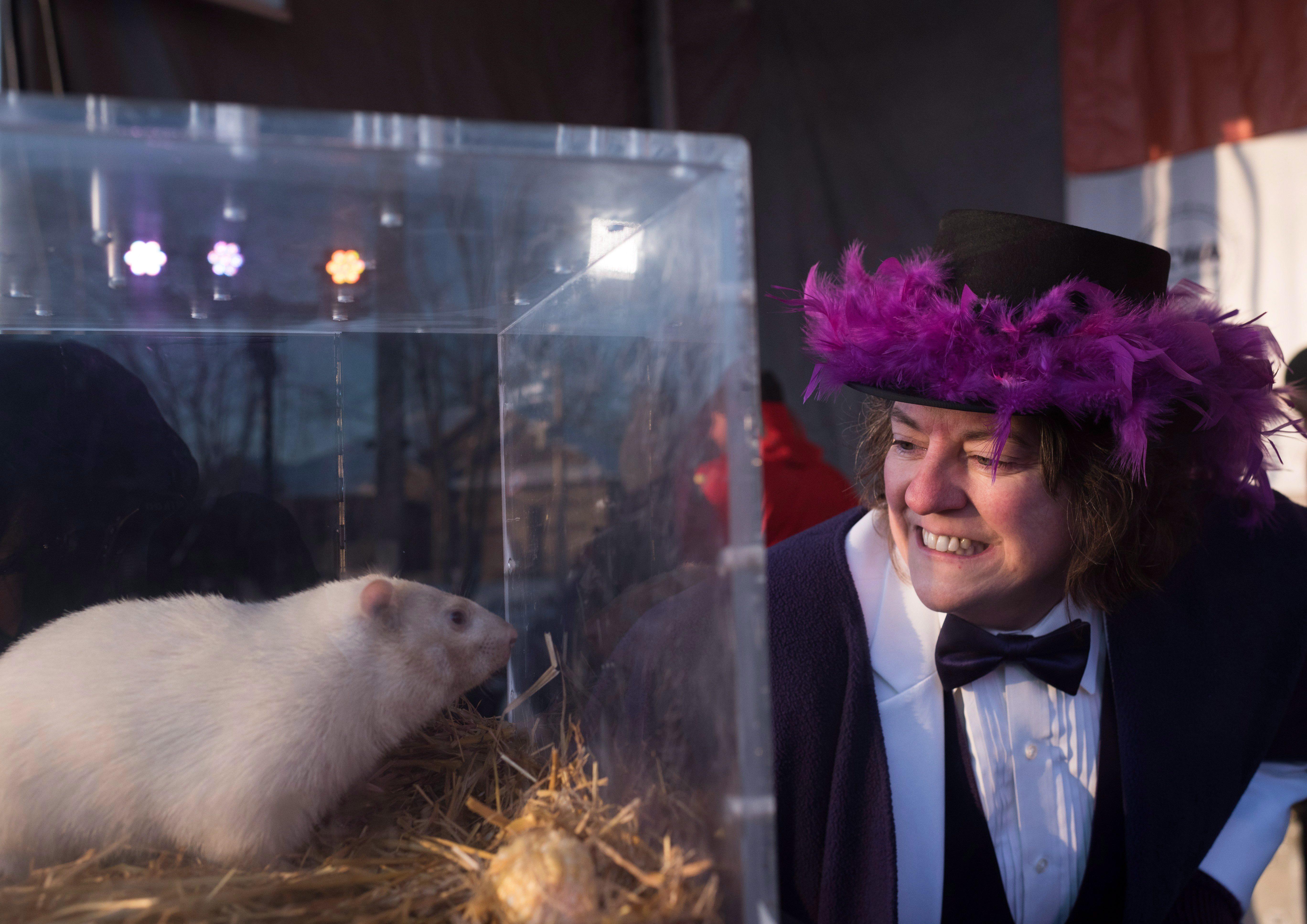 La mairesse de Wiarton en Ontario, Janice Jackson, avec la marmotte Wiarton