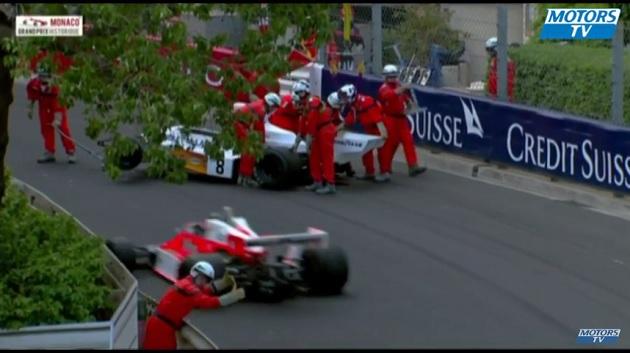 【ビデオ】マクラーレンのビンテージF1マシンが空から降ってきた! モナコ・ヒストリックGPは大惨事