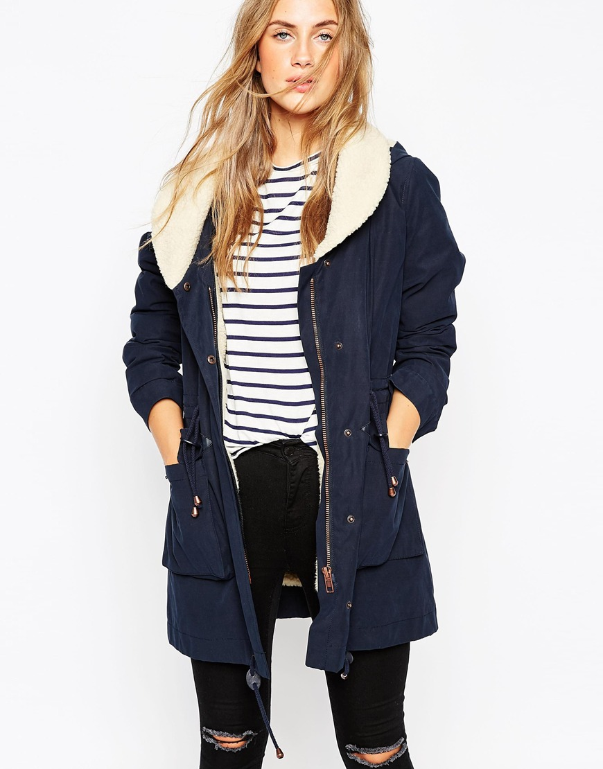 ASOS Parka With Shawl Collar And Patch Pocket
