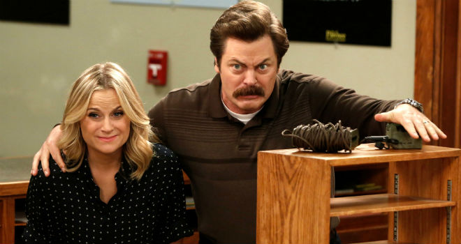 leslie knope and ron swanson in parks and recreation
