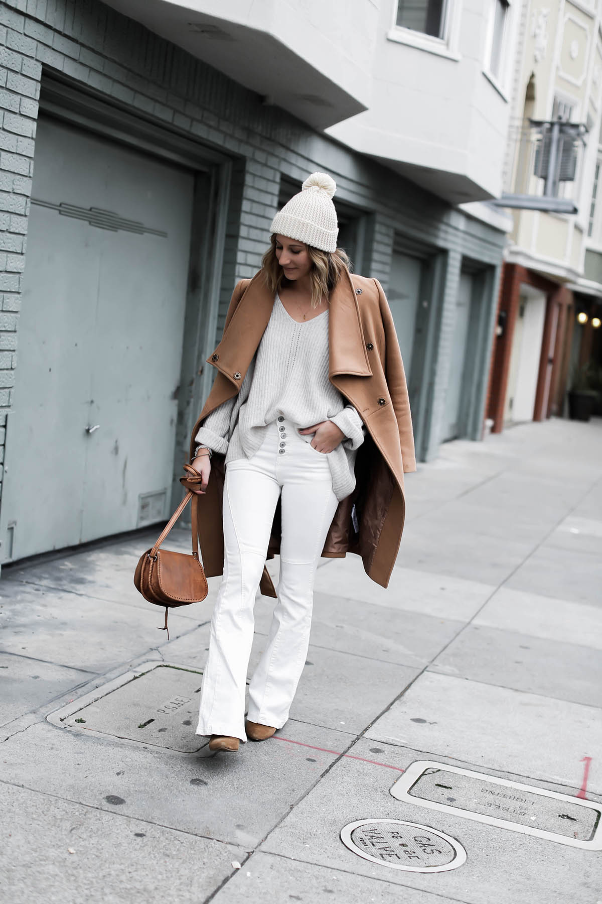 dca18389b5ccc How to wear white flare jeans for winter - AOL Lifestyle