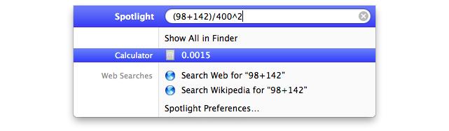OS X Spotlight Math