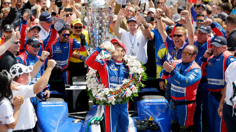 INDIANAPOLIS, IN - MAY 28:  Takuma Sato of Japan, driver of the #26 Andretti Autosport Honda, celebrates in Victory Lane after winning the 101st running of the Indianapolis 500 at Indianapolis Motorspeedway on May 28, 2017 in Indianapolis, Indiana.  (Photo by Jamie Squire/Getty Images)