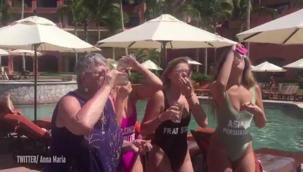 Grandma joins springbreakers for shots in Mexico