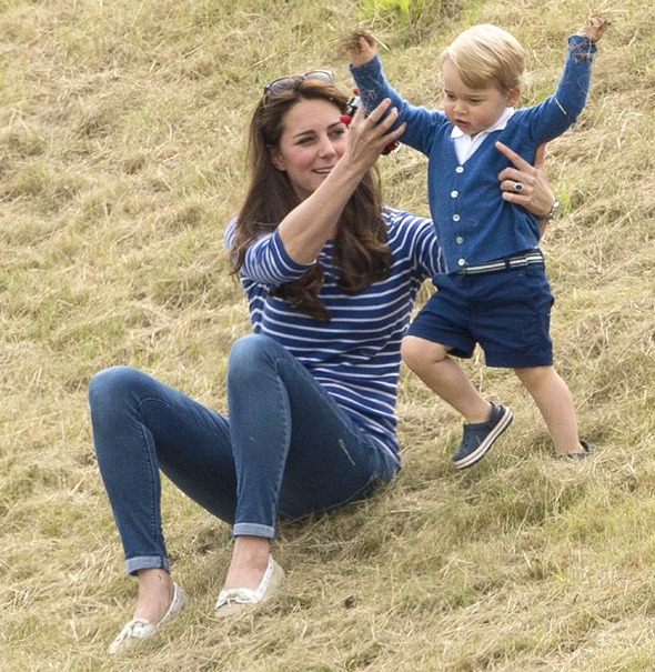Mandatory Credit: Photo by Tim Rooke/REX Shutterstock (4848276az) Catherine Duchess of Cambridge and Prince George British Royals at Beaufort Polo Club, Gloucestershire, Britain - 14 Jun 2015