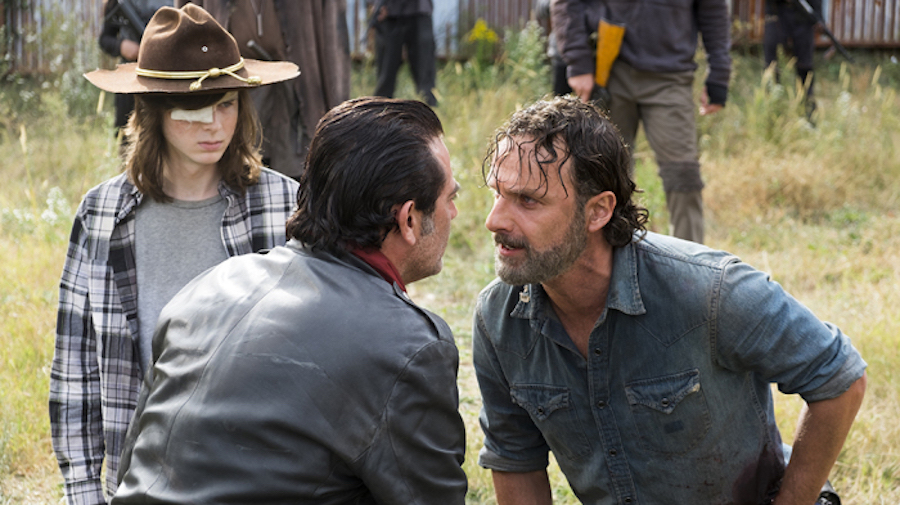 Andrew Lincoln as Rick Grimes, Chandler Riggs as Carl Grimes, Jeffrey Dean Morgan as Negan - The Walking Dead _ Season 7, Episode 16 - Photo Credit: Gene Page/AMC