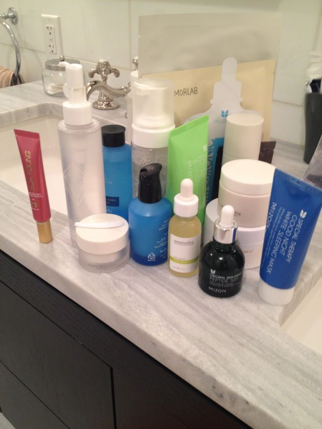 messy bathroom counter products