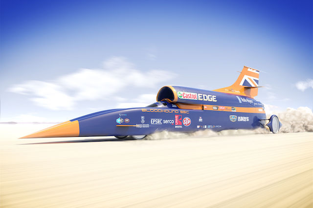 Embargoed to 2000 Monday June 12 Handout picture from Flock London of the Bloodhound supersonic car. The Bloodhound 1,000mph supersonic racing car will be driven for the first time in Cornwall this October - 20 years after the current record of 763mph was set.