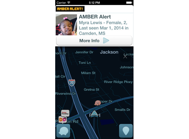 An AMBER alert in Waze