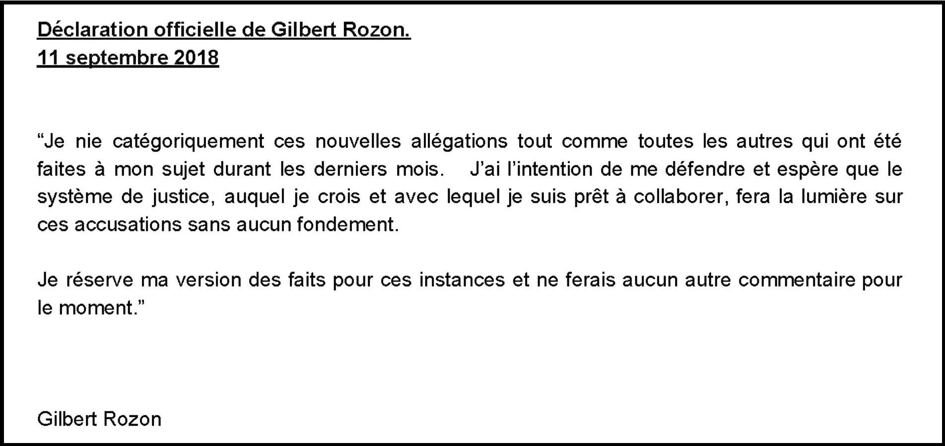 Gilbert Rozon a diffusé une déclaration sur son compte Twitter à la suite des allégations à son sujet...