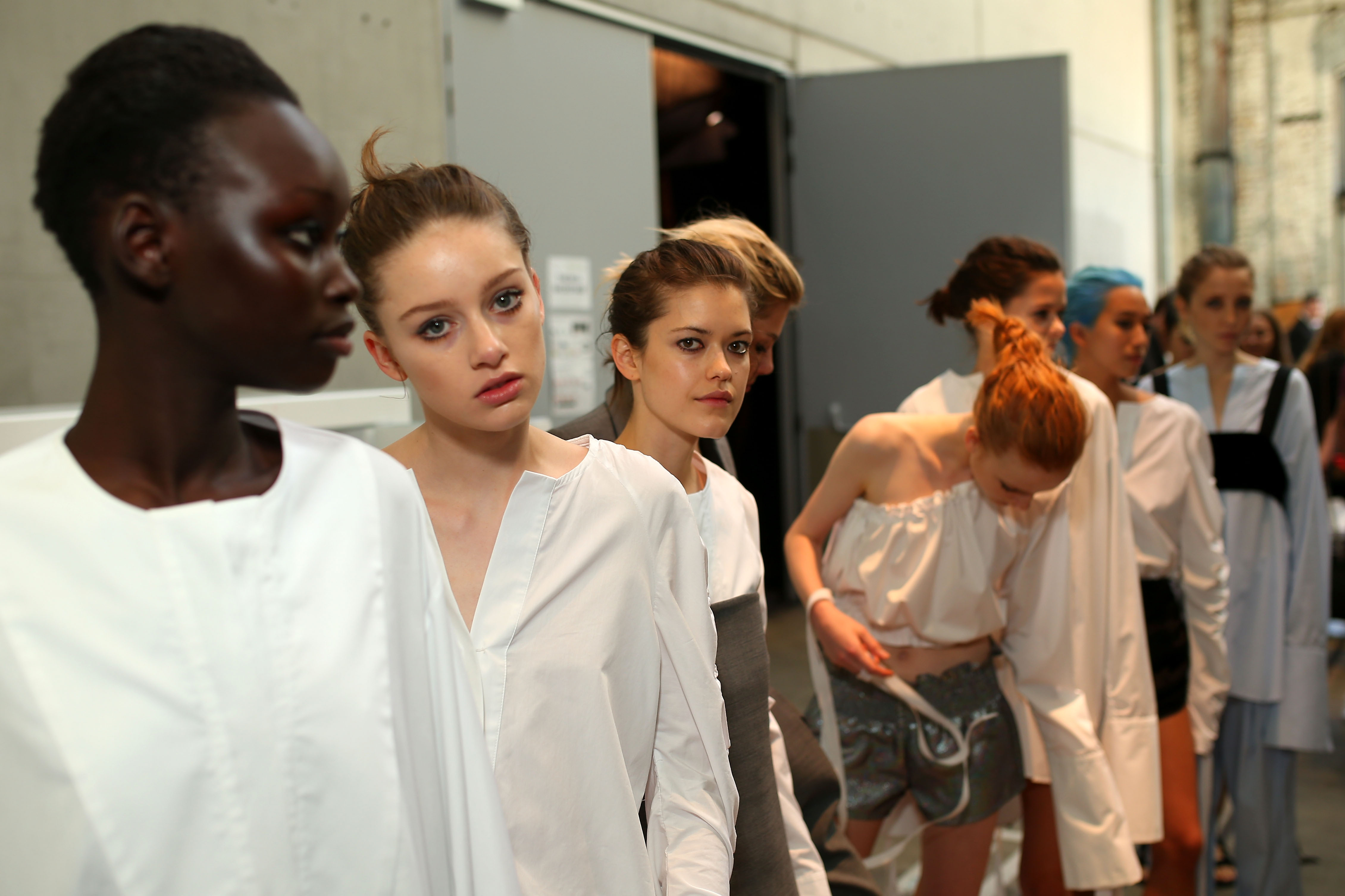 SYDNEY, AUSTRALIA - MAY 16: Models pose backstage ahead of the Georgia Alice show at Mercedes-Benz Fashion...