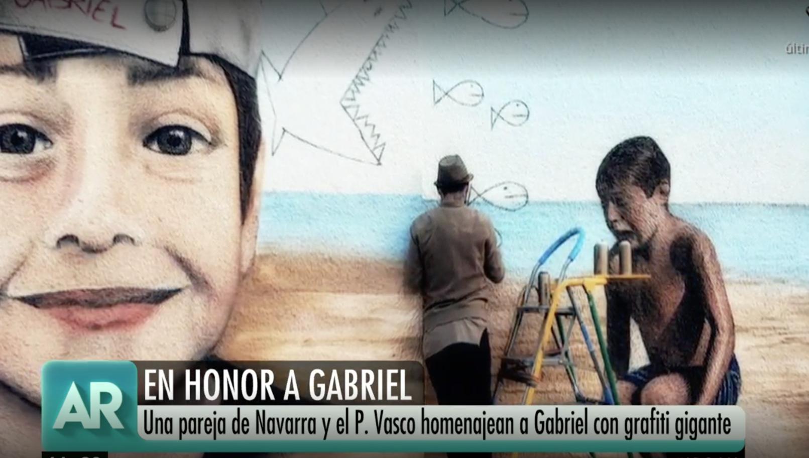 Una pareja viaja desde el País Vasco hasta Almería para pintar un mural gigante en honor al pequeño