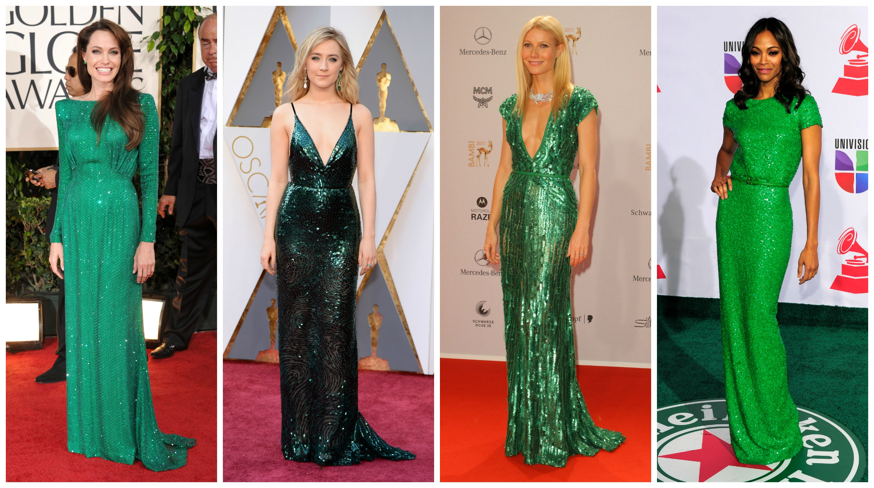 celebrities in green dresses