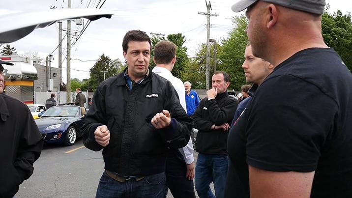 Dave Coleman talks to Mazda Miata owners