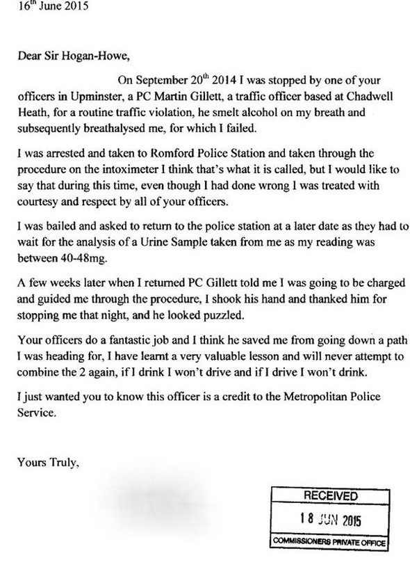 drunk driver writes thank you letter praising police officer for