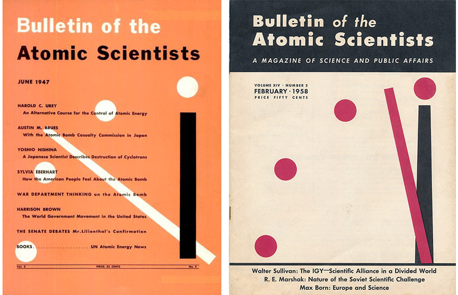 the original bulletin of the atomic scientists cover and one from