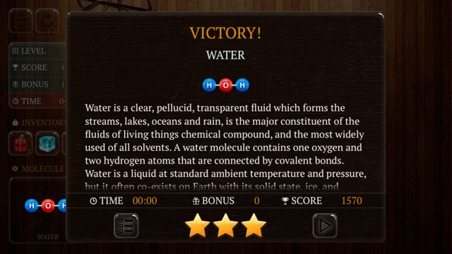 Victory screen with information about the molecule water in Atoms HD