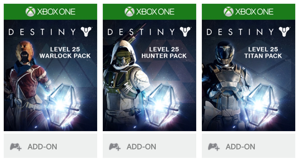 Xbox One Destiny Level Packs