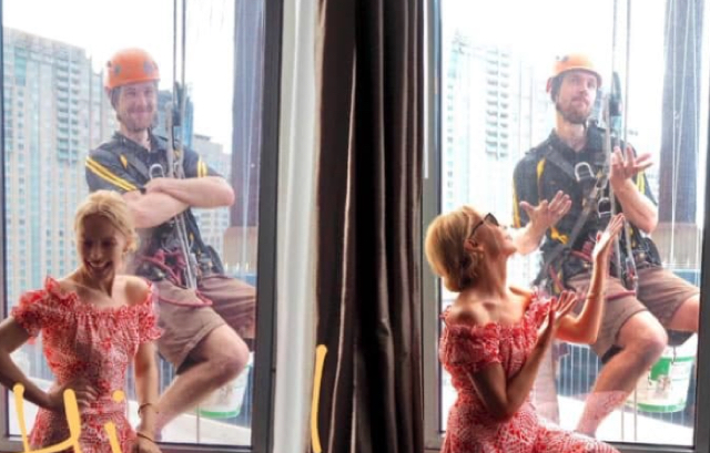 Window cleaner gets a selfie with Kylie at Sydney hotel