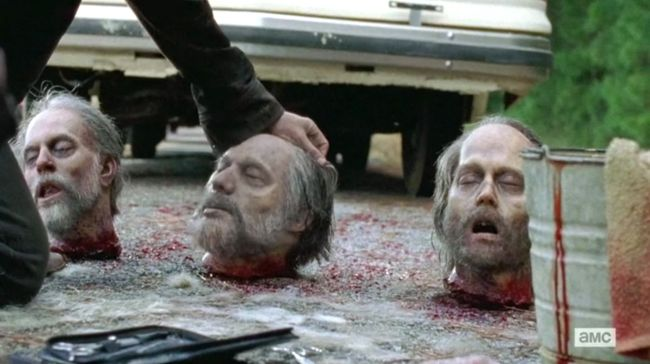 the walking dead, season 6, severed head, gregory, johnny depp