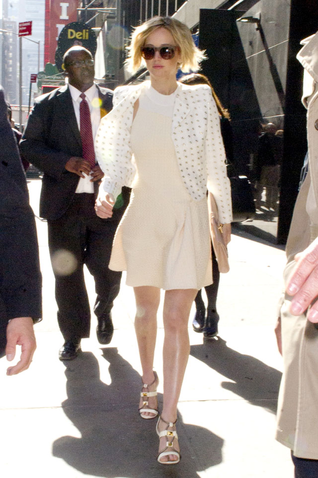 UK CLIENTS MUST CREDIT: AKM-GSI ONLY<BR/> Jennifer Lawrence leaving 'Good Morning America' in New York.  Jennifer wears a white polka dotted jacket over a white dress and white and gold high heels with dark sunglasses. <P> Pictured: Jennifer Lawrence <P><B>Ref: SPL742497  210414  </B><BR/> Picture by: AKM-GSI / Splash News<BR/> </P><P> <B>Splash News and Pictures</B><BR/> Los Angeles: 310-821-2666<BR/> New York: 212-619-2666<BR/> London: 870-934-2666<BR/> photodesk@splashnews.com<BR/> </P>