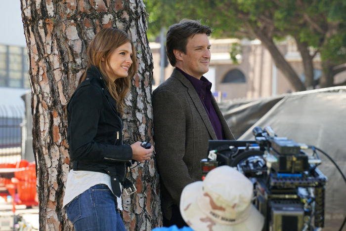 "CASTLE - ""Crossfire"" - With their best lead in hand, Castle and Beckett are ready to take on LokSat. But an unforeseen twist puts their case - and their lives - in jeopardy, on the season finale of ""Castle,"" MONDAY, MAY 16 (10:00-11:00 p.m. EDT) on the ABC Television Network. ""Crossfire"" (ABC/Byron Cohen)STANA KATIC, NATHAN FILLION"