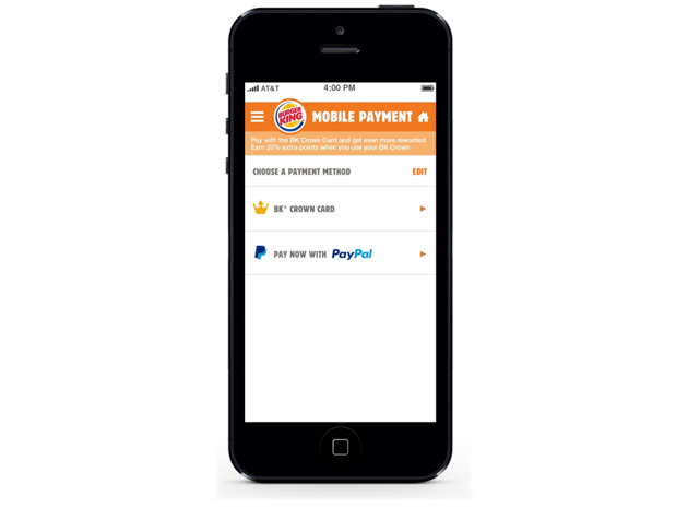 Burger King mobile app for  iOS with a PayPal option