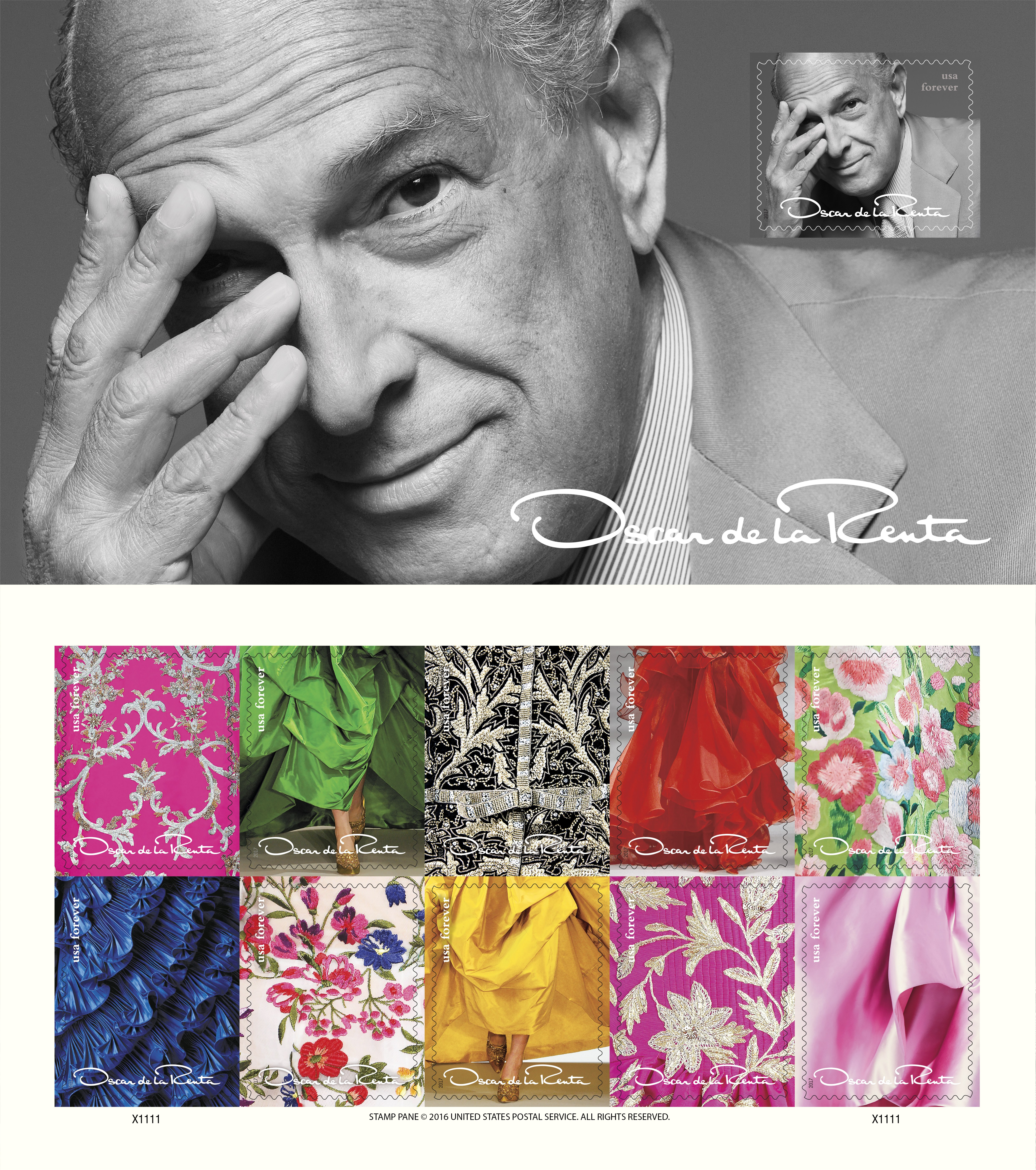 Oscar de la Renta honored with forever stamps
