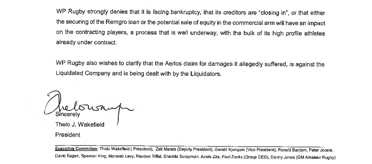 Extract of a letter from WP rugby president Thelo Wakefield to rugby clubs in the region denying the...