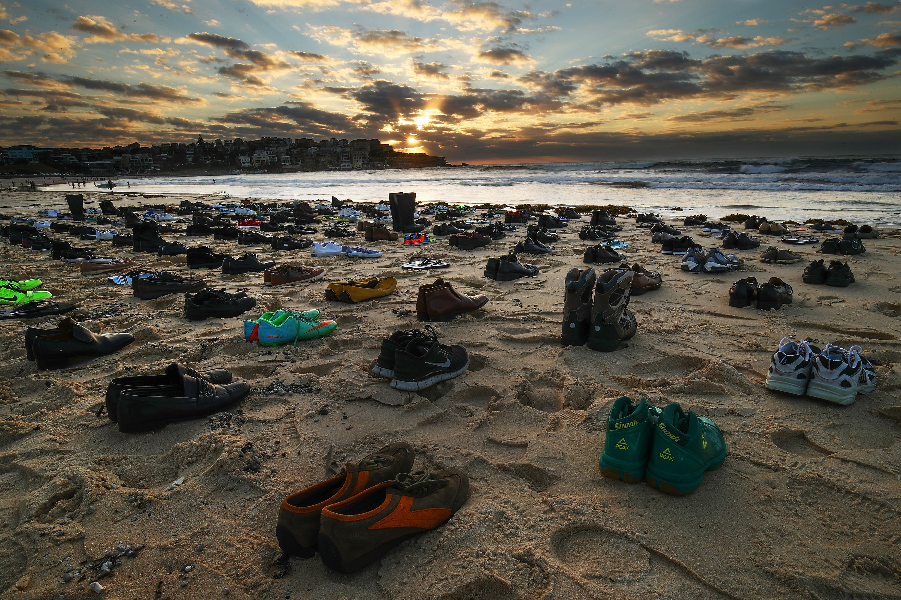 191 pairs of shoes on Sydney's Bondi Beach represented the number of Australian men who take their lives...