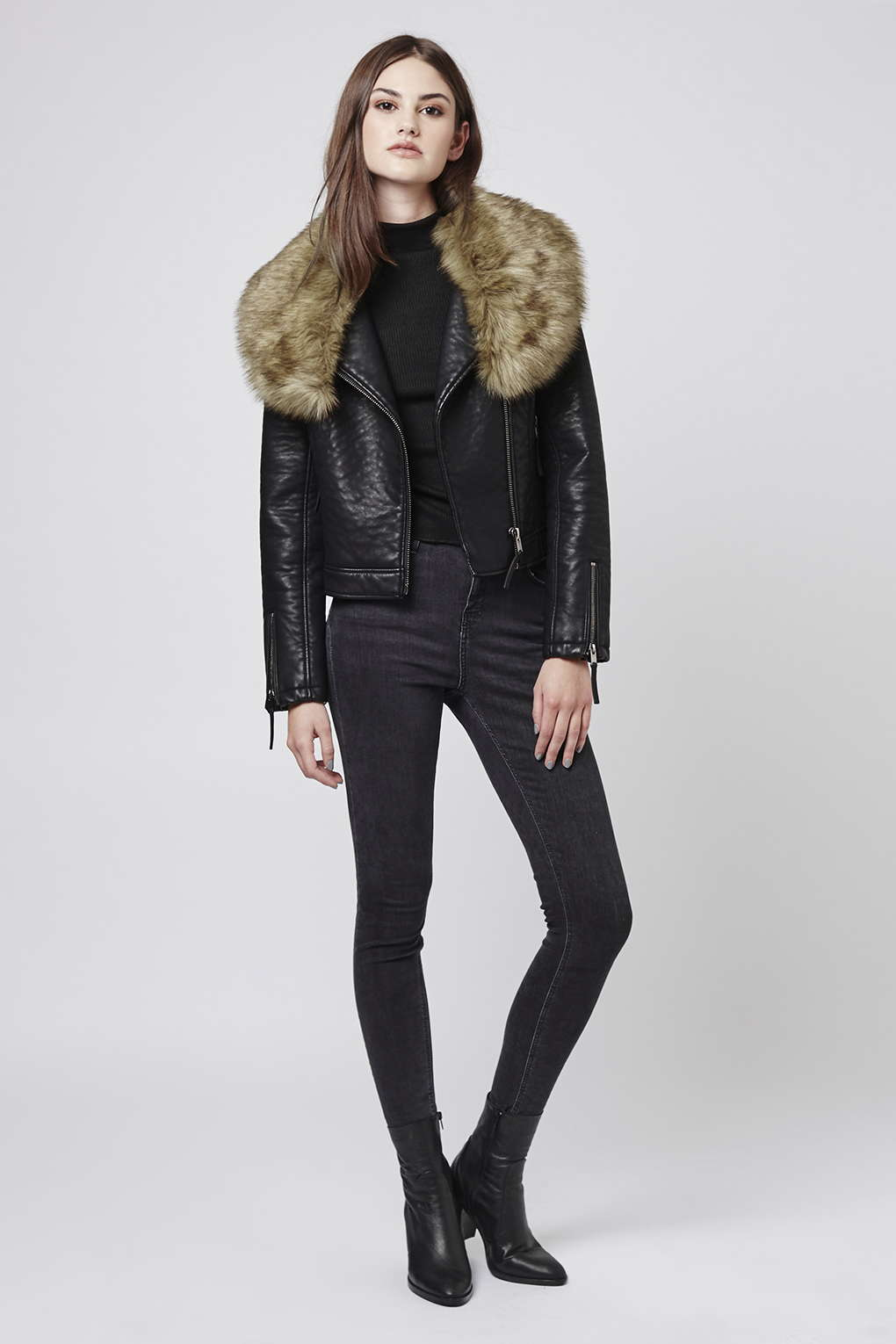 Topshop Faux Fur Shawl Biker Jacket