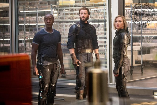 MARVEL'S AVENGERS: INFINITY WAR Don Cheadle as War Machine, Chris Evans as Steve Rogers/Captain America, and Scarlett Johansson as Natasha Romanoff/Black Widow