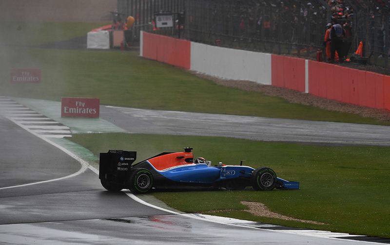 Manor's Racing's German driver Pascal Wehrlein crashes out of the British Formula One Grand Prix at Silverstone motor racing circuit in Silverstone, central England, on July 10, 2016
