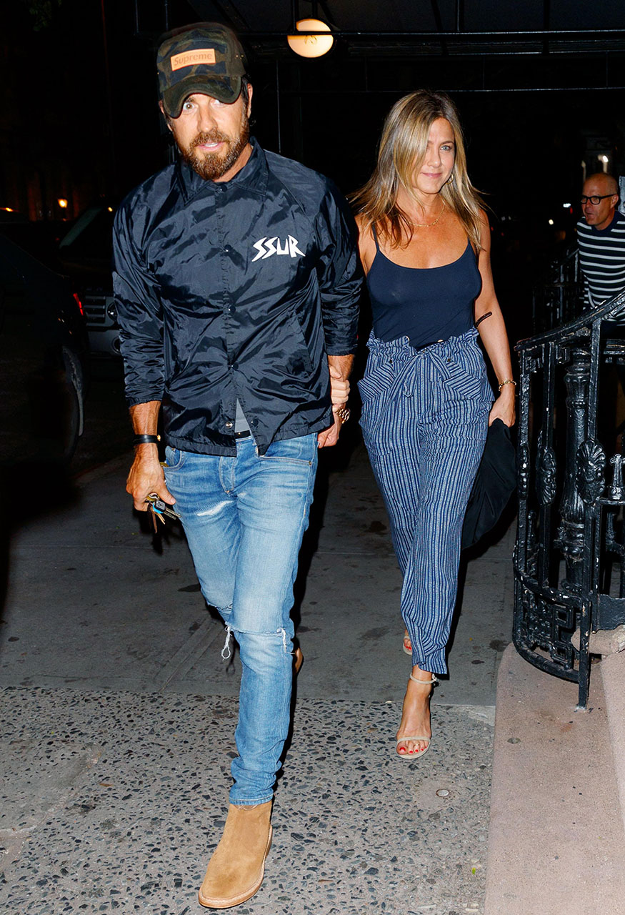 EXCLUSIVE: Jennifer Aniston and Justin Theroux go to dinner at Blue Hill in New York. <P> Pictured: Jennifer Aniston and Justin Theroux <B>Ref: SPL1540054  170717   EXCLUSIVE</B><BR/> Picture by: XactpiX/ Splash News<BR/> </P><P> <B>Splash News and Pictures</B><BR/> Los Angeles:310-821-2666<BR/> New York:212-619-2666<BR/> London:870-934-2666<BR/> photodesk@splashnews.com<BR/> </P>