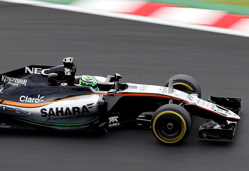 Force India's Nico Hulkenberg of Germany in action during second practice.