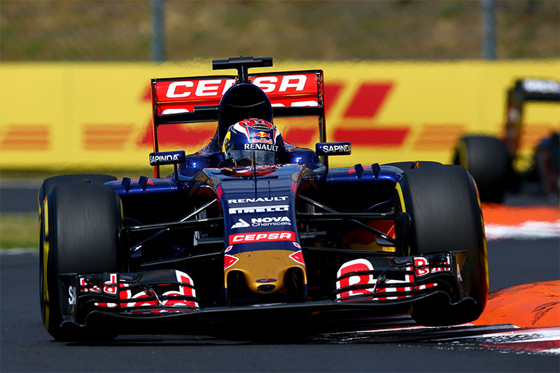 Max Verstappen drives during the 2015 Hungarian F1 Grand Prix.
