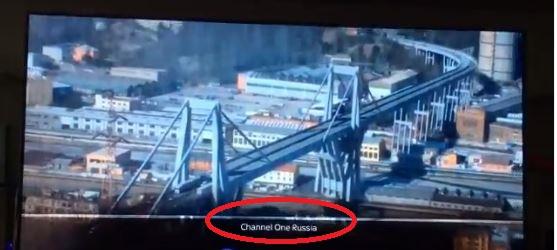 """Evidenziato in rosso, lo streaming di """"Channel One Russia"""" che ha trasmesso la ricostruzione..."""