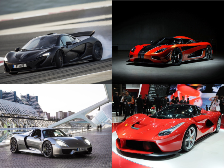 McLaren P1, Koenigsegg One:1, Ferrari LaFerrari, Porsche's 918 Spyder