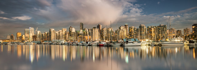 View of Vancouver Canada British Columbia city panorama skyline from Stanley Park in the