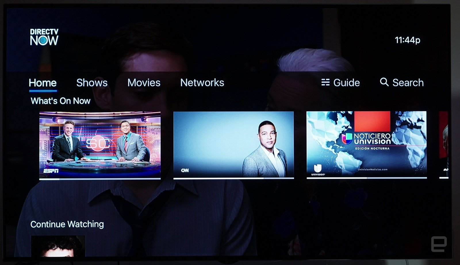 DirecTV Now as it currently appears on Apple TV