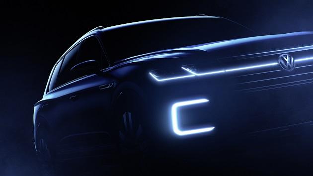 VW、北京モーターショーで発表するプラグイン・ハイブリッドSUVのティーザー画像を公開