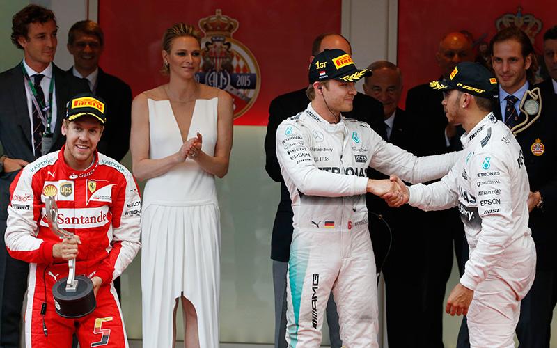 The podium at the 2015 Monaco F1 Grand Prix.