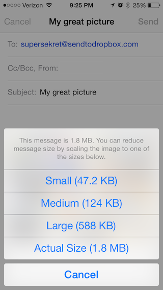 Email Sizes Screenshot