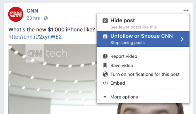 Facebook Snooze Button Lets You Temporarily Mute People
