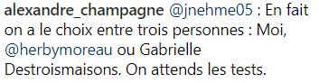 Alexandre Champagne réagit à l'annonce de la grossesse de
