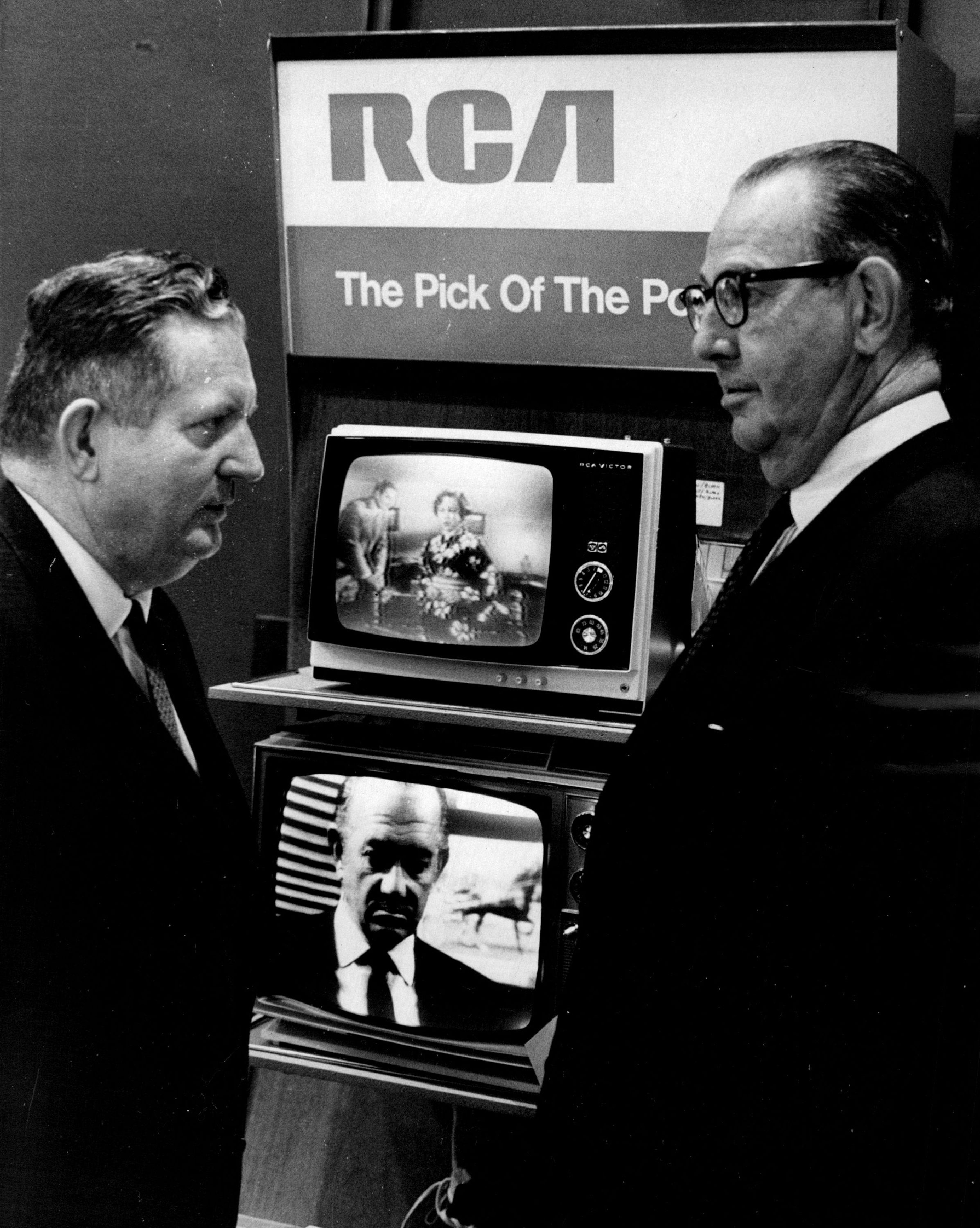 JUN 10 1968, JUN 12 1968; 1969 RCA Line Debuts; W. F. Martin, left, of Lefty Martin Appliance and TV