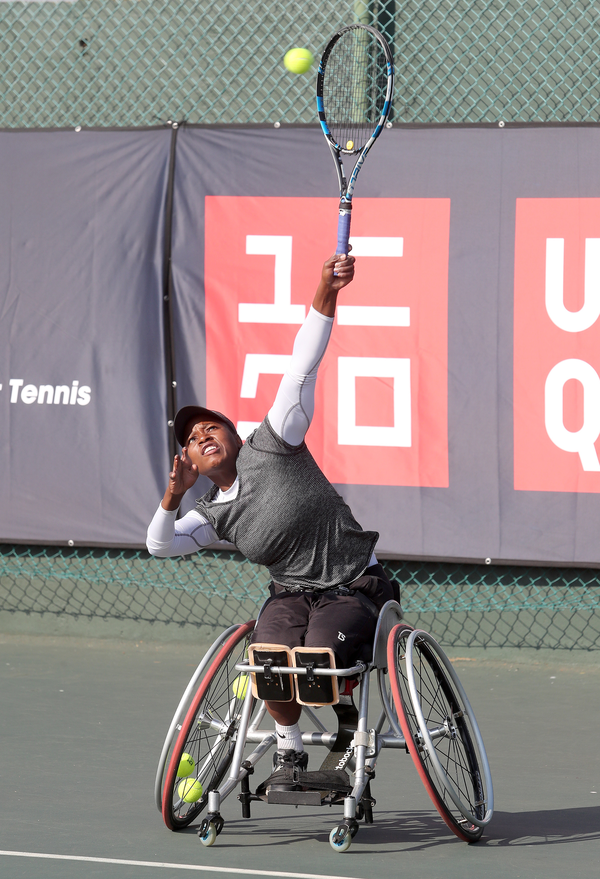 Kgothatso Montjane in action in the women's final during day 4 of the Wheelchair Tennis Joburg Open at...