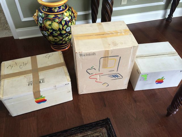 Boxes for Mac 512K, Apple Hard Disk 20, and Imagewriter Printer