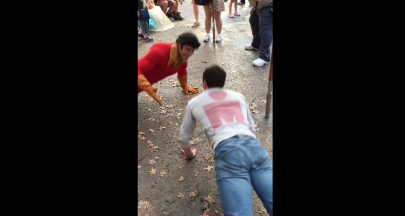 Tourist challenges Gaston to a push-up contest at Disney World: What happens next?